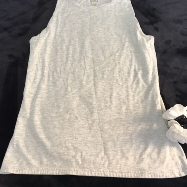 Ally High Neck Grey Tank Size M/10 Top
