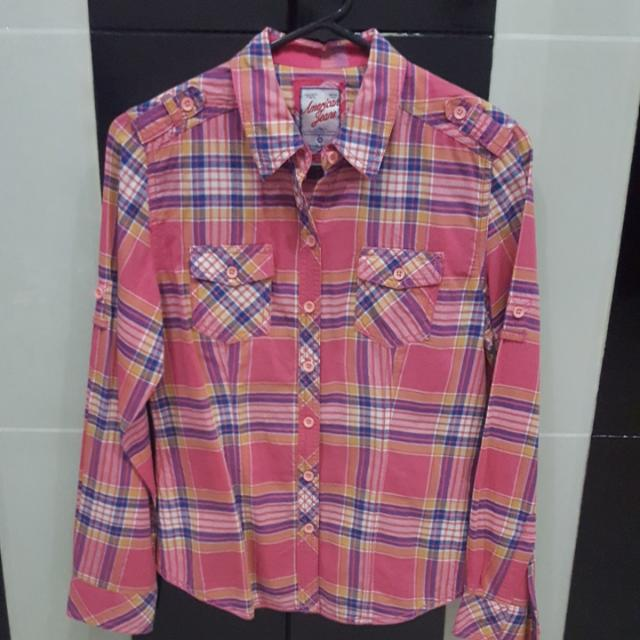 american jeans pink shirt