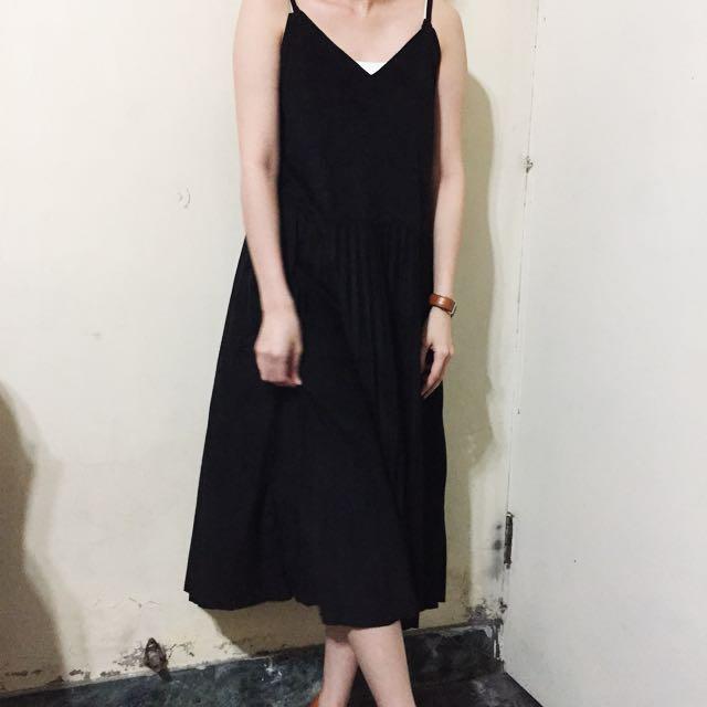 aroma 麂皮下擺百褶連衣裙