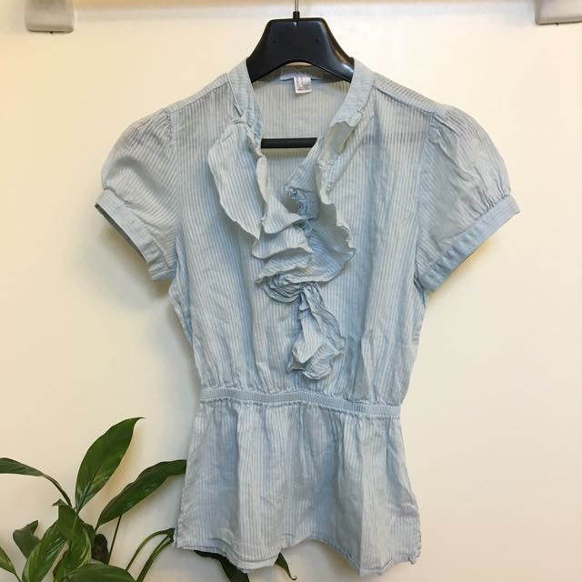 Baby Blue Striped Ruffle Blouse