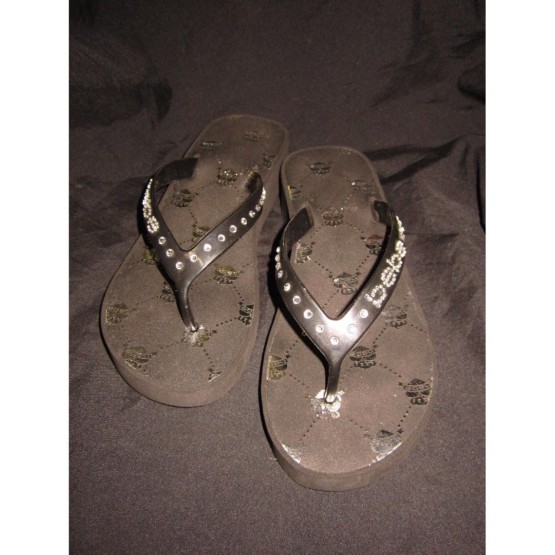 BEBE Black/Silver Low Wedge Slippers
