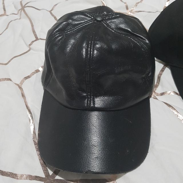 Black Pleather Baseball Cap