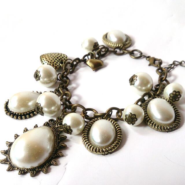 Bracelet Vintage Broken White Pearl Imitation
