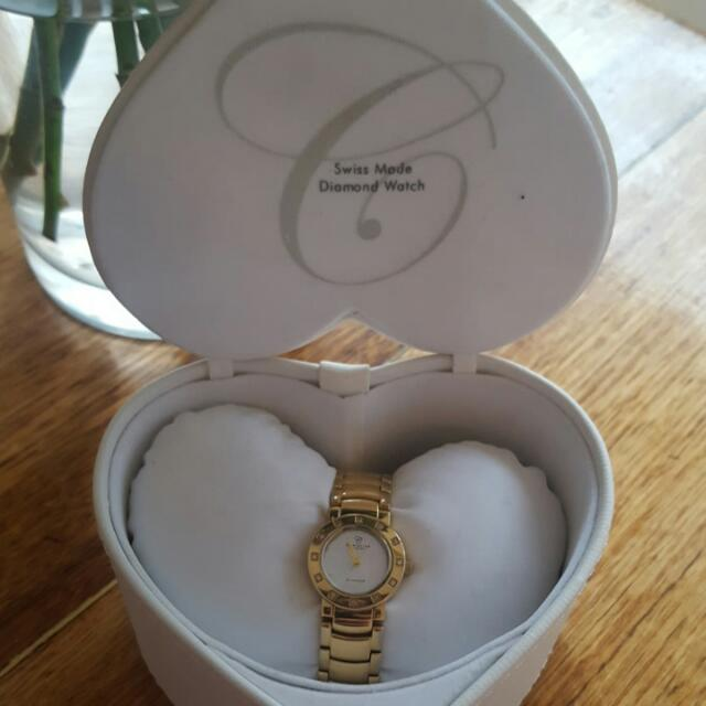 Christina London Swiss Made Diamond Watch 115GW rrp$450. (Sold Out)
