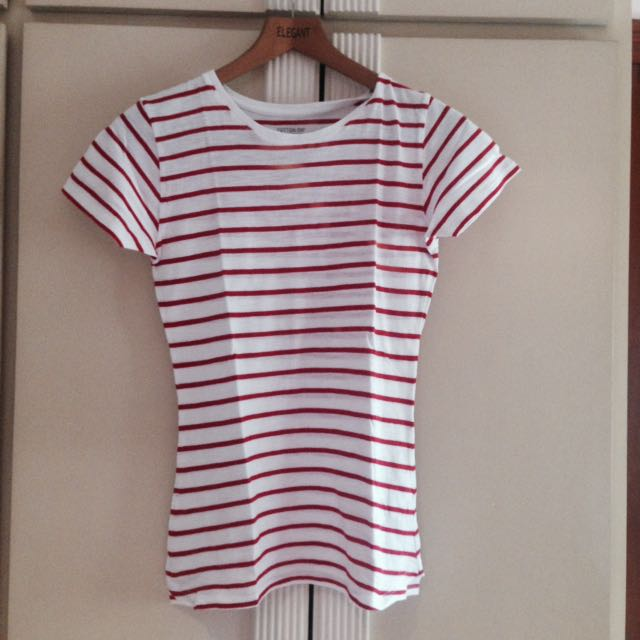 Cotton On White and Red Striped Shirt