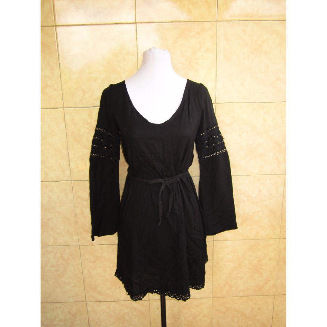 DIVIDED by H&M Boho-Style Black Mini Dress