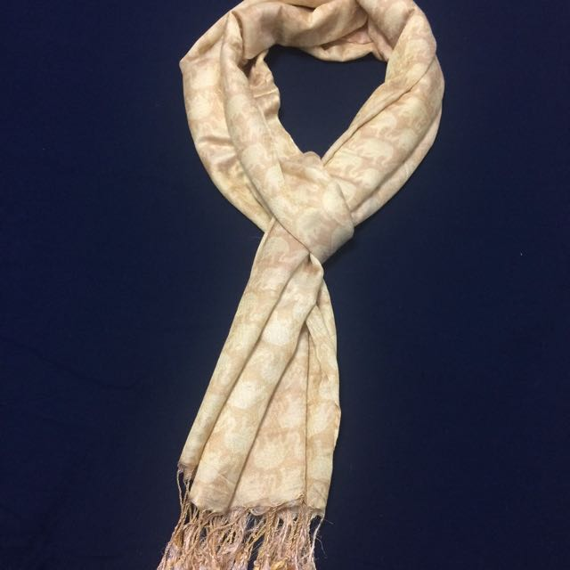 Golden Elephant Print Scarf