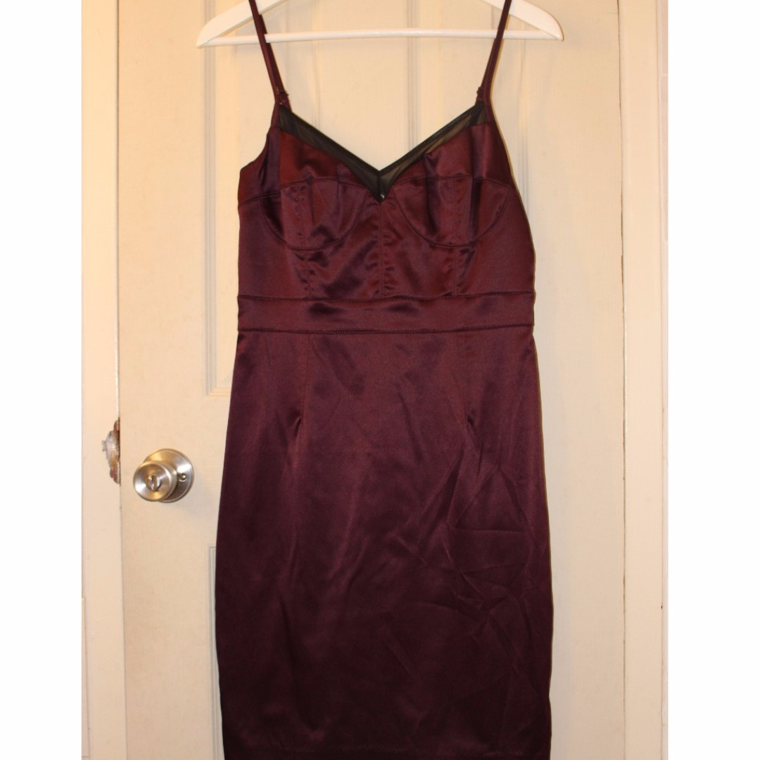 Dynamite Burgundy Satin Dress