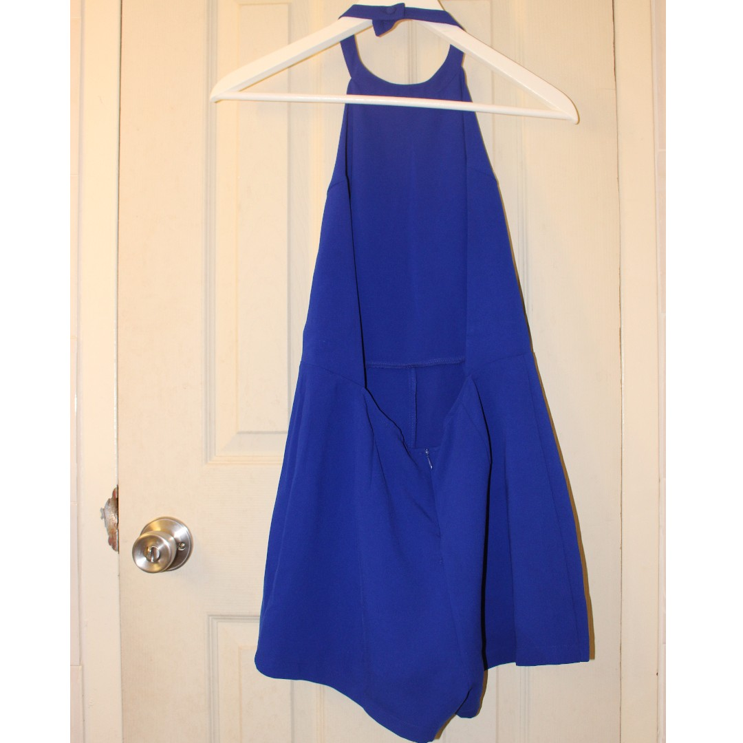 F21 Royal Blue Backless Halter Romper