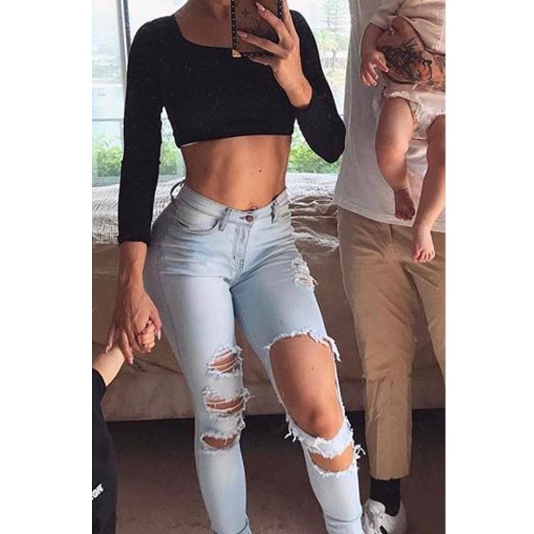 Fashion Nova Beach Bum Jeans - Light Blue