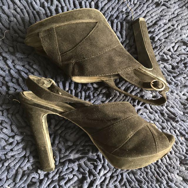 Fiona Black Suede Heels