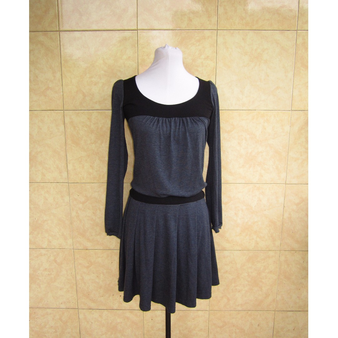 >! Reserved <! Gray and Black Cotton Dress
