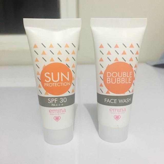 HARGA UNTUK 2 PCS!! 👌🏻 Emina Sun Protection SPF 30 & Double Bubble Face Wash