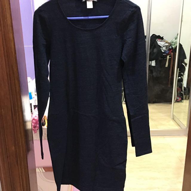 H&m Dress Navy Blue (Ukuran S)