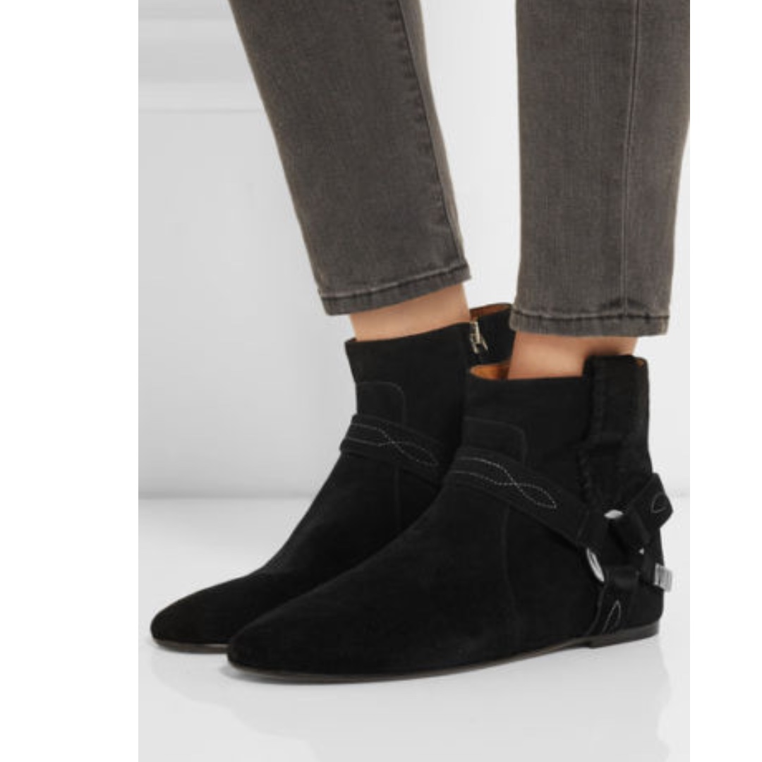 Isabel Marant Etoile Ralf Suede Gaucho Harness Black Boots CURRENT SEASON 37 EUC RRP$795