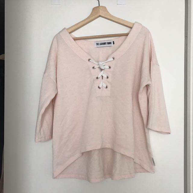 Laundry Room Label Pink Lace Up Sweatshirt