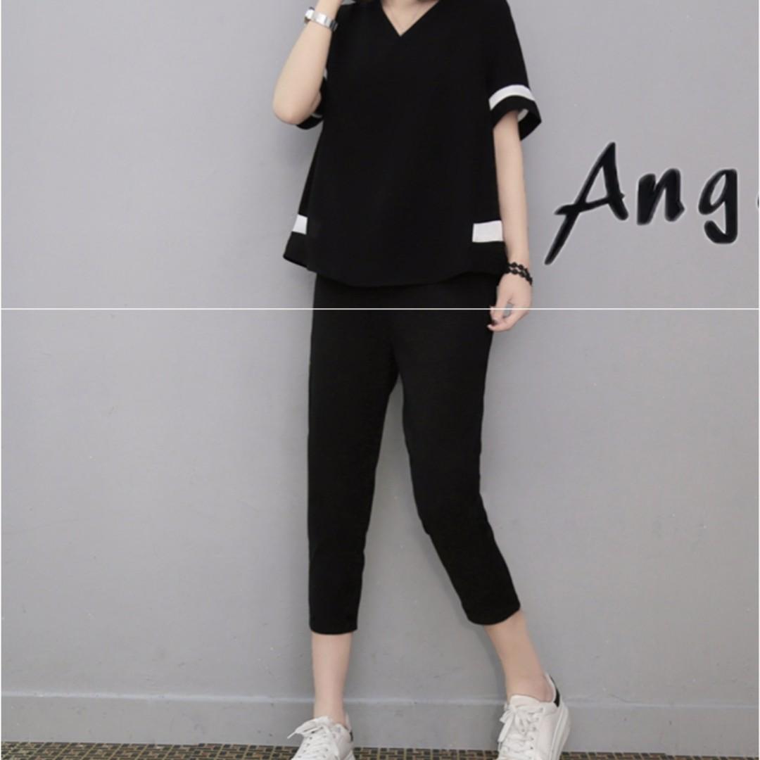 [兩件一套價]大尺碼夏裝七分褲顯寬鬆上衣M-4XL*現貨+預購【CATJIN.SHOP⭐TB16-03】