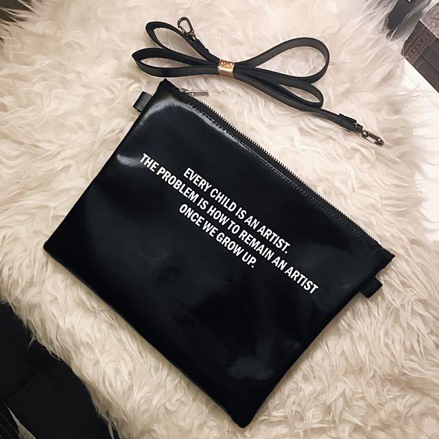 Mannequin Plastic Dual Side Black Clutch Bag
