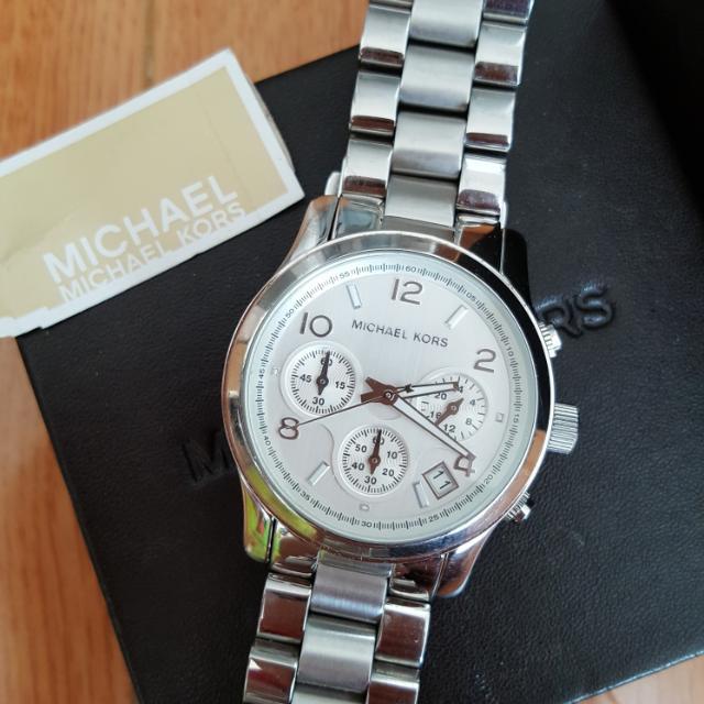 Michael Kors Oversized Silver Chronograph Watch