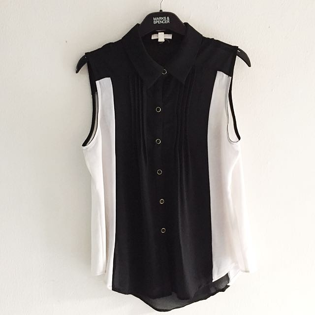 Monochrome Sleveless Blouse