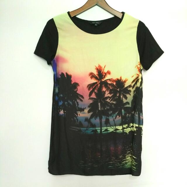 New Look Tropical Shirt Dress - Preloved
