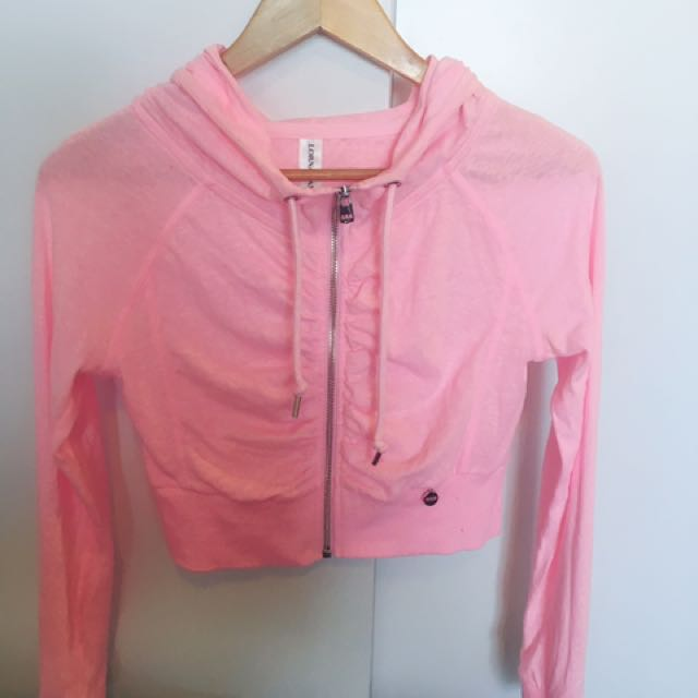 NEW Lorna Jane Bright Pink Crop Hoodie XS