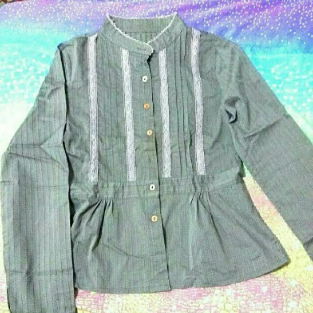 🎉OBRAL korean Grey Blouse