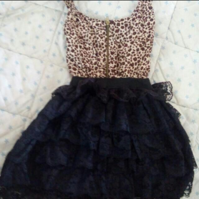 Party Dress (animal print+lace)