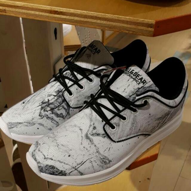 Pull Bear Sneakers White Sepatu Pull N Bear Marble Fesyen Pria