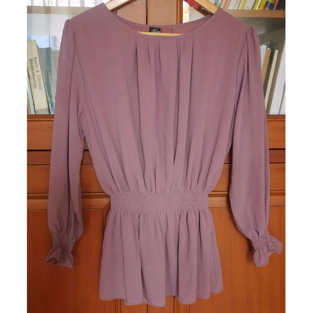 RAISAONLINESHOP KHEVA MAUZA PURPLE CHIFFON BLOUSE