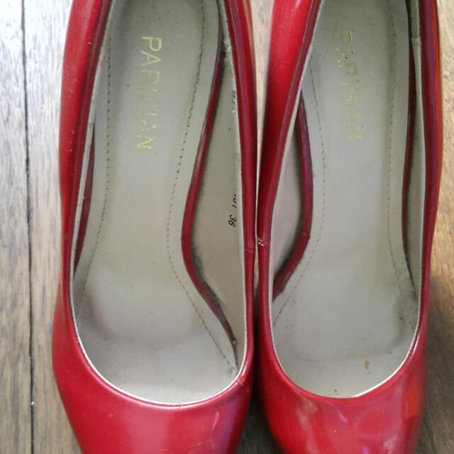 Red Parisian Peep Toe Shoes