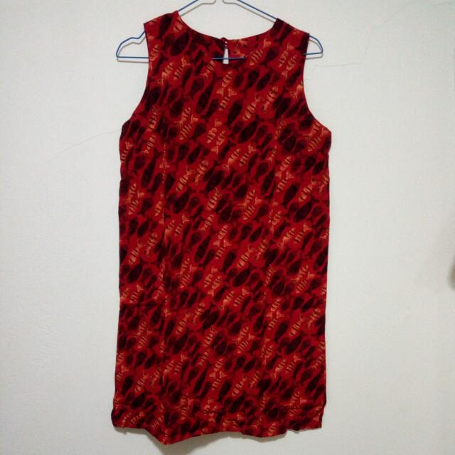 Red Pattern Dress Terusan Merah Motif Ikan