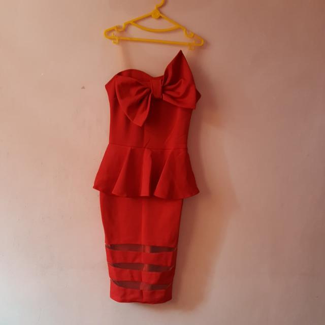 Red Pita Party Dress Fil L (Bagus Dan 100% Baru)