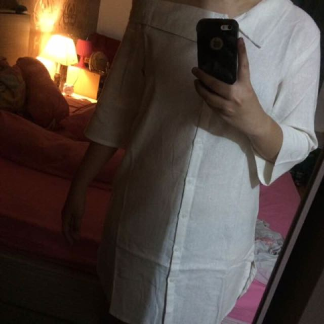 Shoulder Dress Kemeja Putih