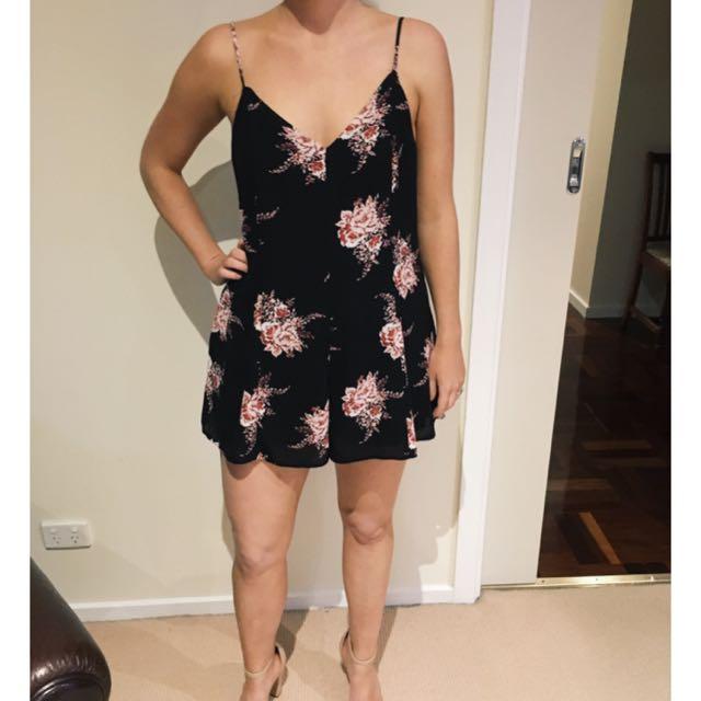 Sportsgirl Size 10 Black Floral Jumpsuit