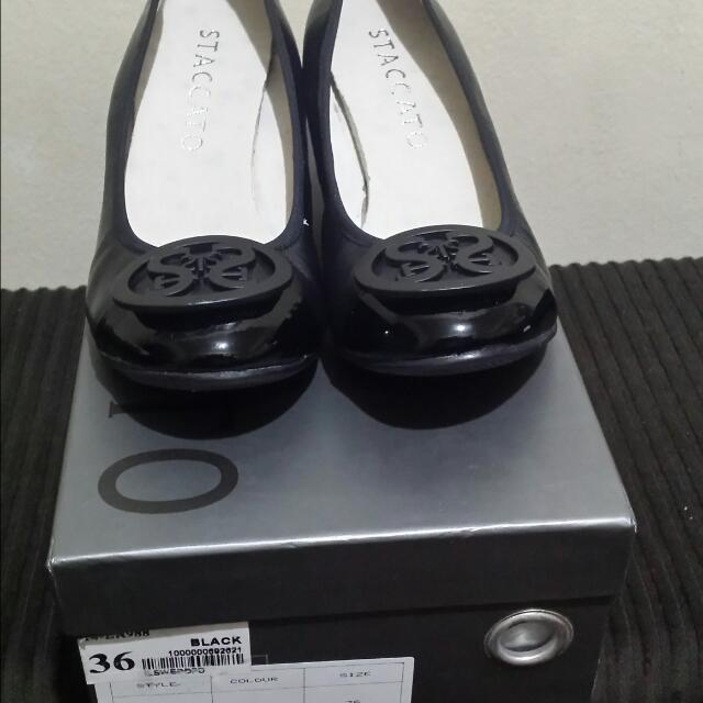 Staccato Black Wedge Shoes Size 36