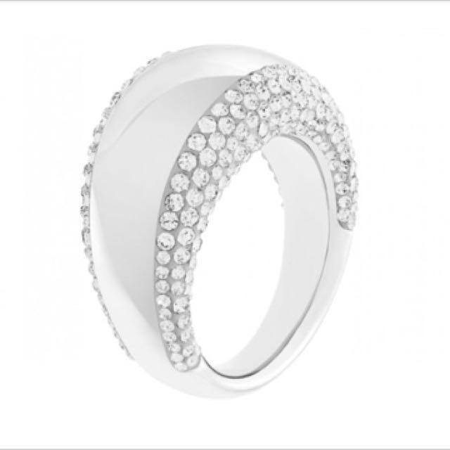 Swarovski Crystal Pebble Silver Ring