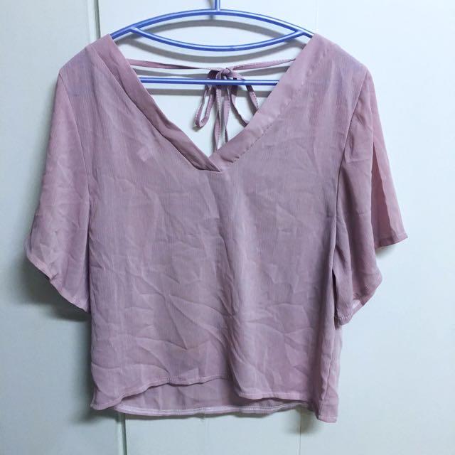 二手👚粉色雪紡大v領綁帶上衣