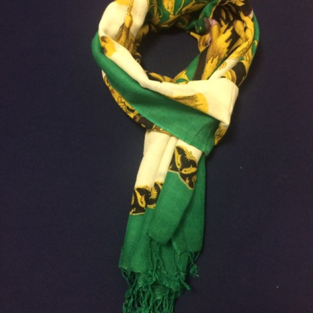 Warm Scarf (Green & Off-White)