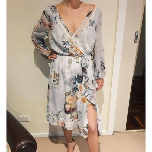 We Are Kindred Primrose Split Sleeve Size 10 Midi Dress RRP $290