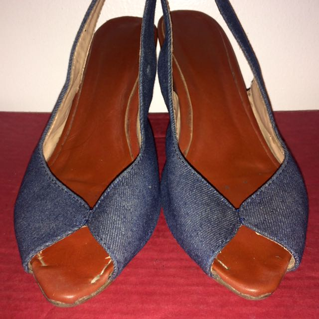 FREE! just Pay Shipping - Denim Wedge Heels Sandals Casual Vintage Office