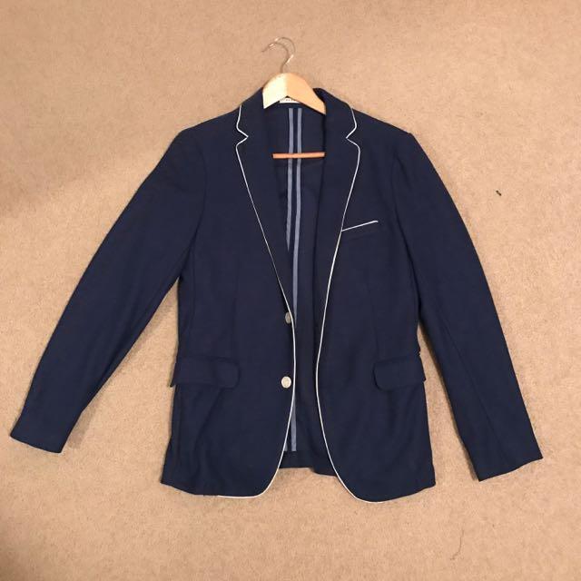 Zara Men's Size US38 Navy Blazer With White Trimming