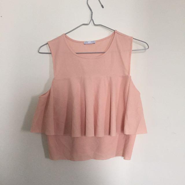 Zara Women Crop Top In Peach