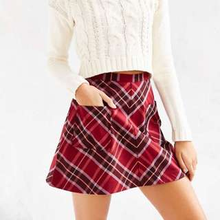 Silence + Noise Plaid Red Skirt