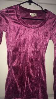 Crushed Pink Velvet Long Sleeve Top