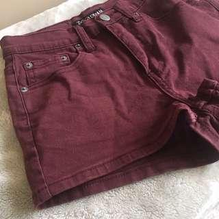 ZIGGY denim Maroon Short Shorts High waisted ladies Size 10