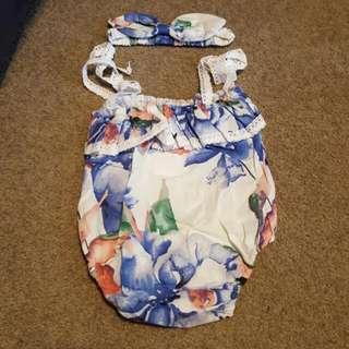 *Brand New* Baby Girl Floral Romper Set