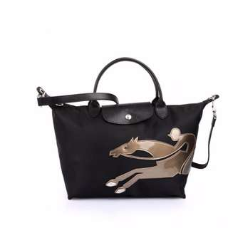 Longchamp Limited Edition Cavalier Medium Black Bag (New, Genuine and On Hand)