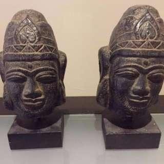 2 X Buddha Head on stand