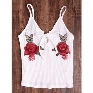 Rose Embroidered Patch Lace Up Cami
